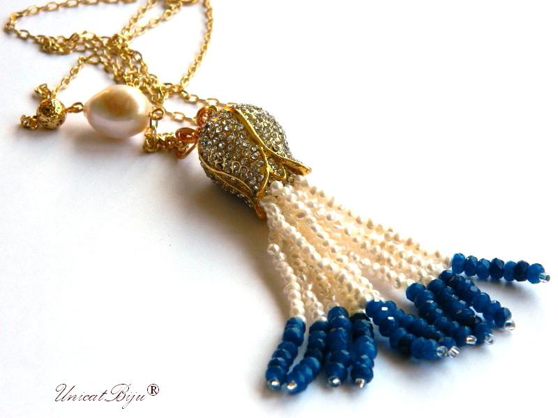 colier lung, aurit, ciucure lalea aurita, perle albe, safir radacina, keshi, lava aurit, bijuterii semipretioase unicat, unicatbiju