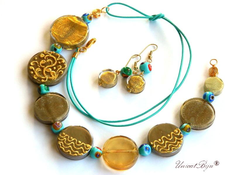 colier murano, statement, bijuterii unicat, millefiori, pictat manual, turcoaz, foita aur, unicatbiju