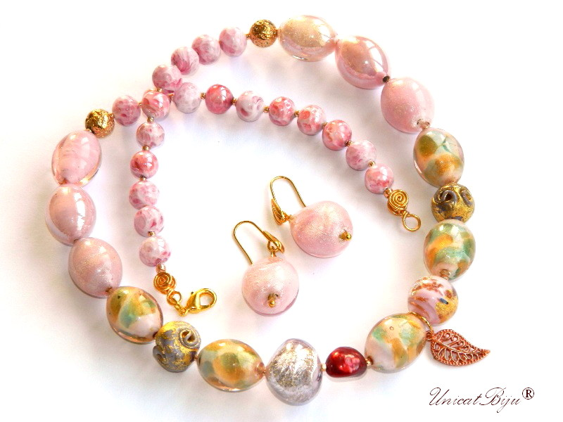colier murano, statement, bijuterii unicat, perle keshi, roz, frunza cupru, foita aur, unicatbiju