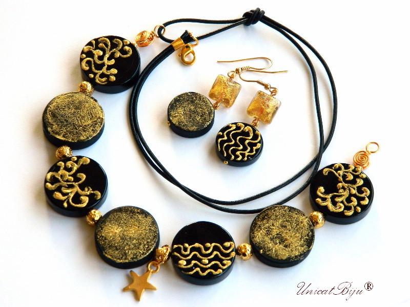 colier murano, statement, bijuterii unicat, stea aurita, pictat manual, negru, foita aur, unicatbiju
