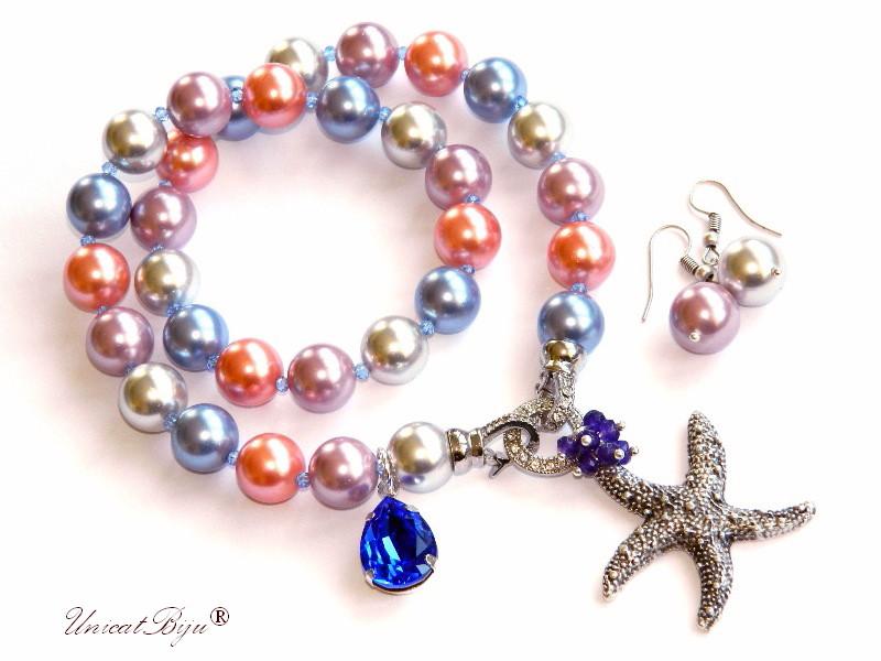 colier perle mallorca mari, pandantiv swarovski majestic blue, stea de mare argintata, jad mov, cercei perla mare, unicatbiju