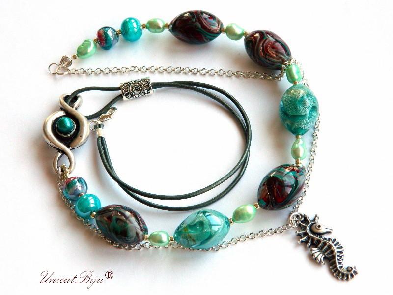 colier perle murano, foita argint, bijuterii statement, calut de mare argintat, perle sidef natural, semipretioase, turcoaz, unicatbiju