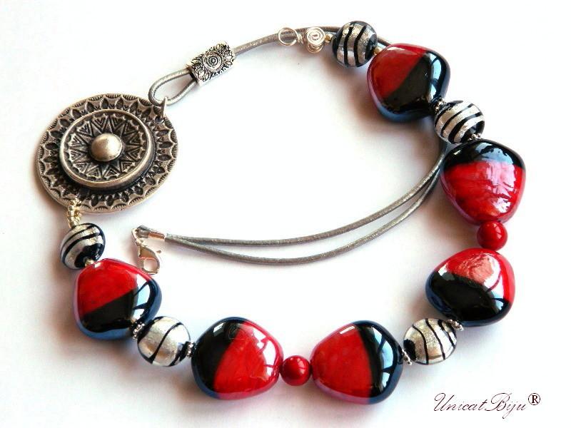 colier perle murano, foita argint, bijuterii statement, pafta argintata, perle mallorca rosii, semipretioase, unicatbiju