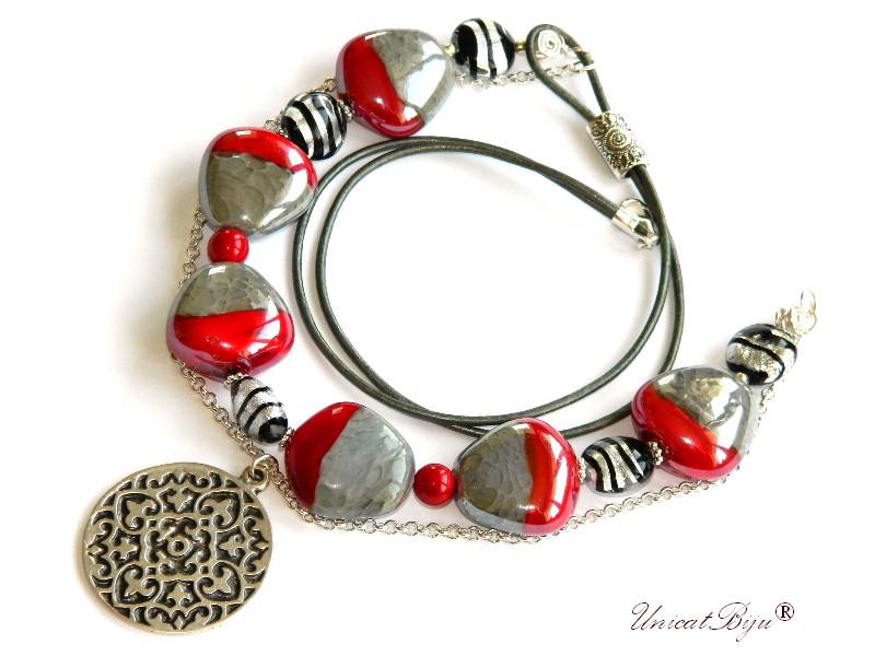 colier perle murano, foita argint, bijuterii statement, pafta argintata, perle mallorca, semipretioase, rosu, unicatbiju