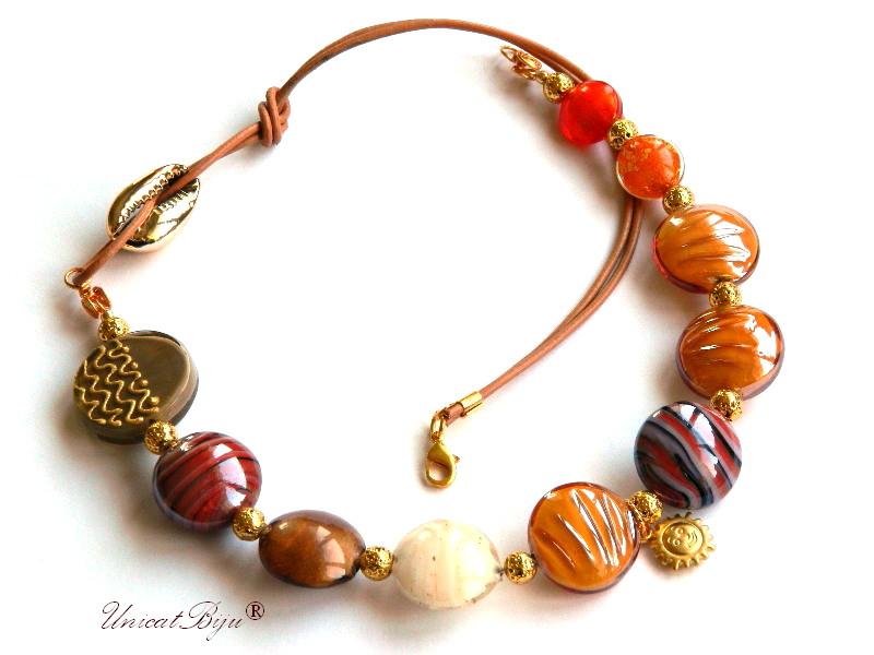 colier perle murano, foita aur, bijuterii statement, margele pictate manual, margele pandora murano, orange, unicatbiju