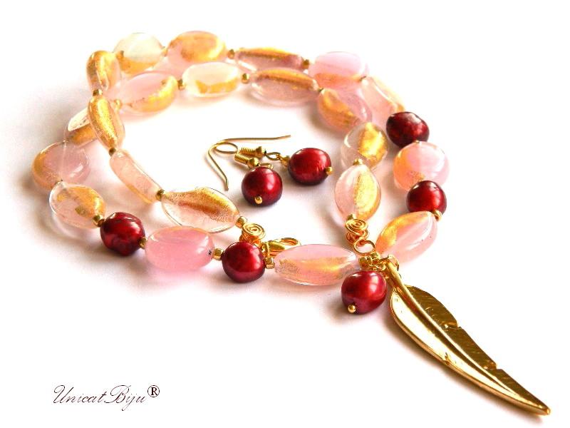 colier perle murano, foita aur, clasic, bijuterii statement, frunza aurita, perle keshi, bordeaux, sidef natural, semipretioase, unicatbiju