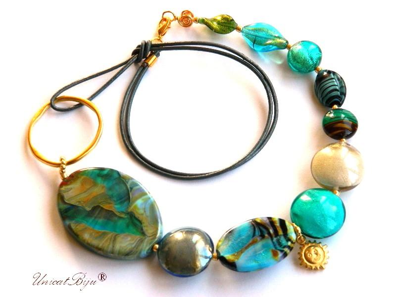 colier salba aurit, murano, bijuterii statement, foita aur, soare aurit, perle murano, unicatbiju