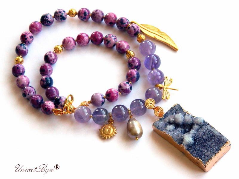 colier statement, ametist, bijuterii semipretioase unicat, regalit mov, perle keshi, agat druzy, soare aurit, unicatbiju