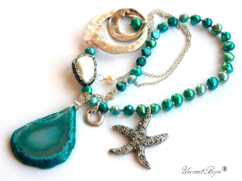 colier statement, bijuterii semipretioase unicat, perle turcoaz, cuart cherry, perle keshi, agat geoda, stea de mare argintata, unicatbiju
