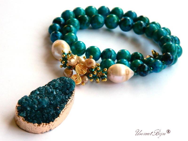 colier statement, blue casillica, bijuterii semipretioase unicat, keshi, perle aurii, agat druzy, cristale, unicatbiju
