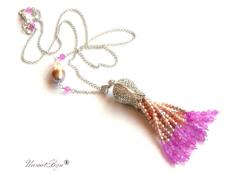 colier statement, ciucure perle, sidef natural, jad mov, perle keshi, bijuterii semipretioase unicat, lalea argintata, unicatbiju