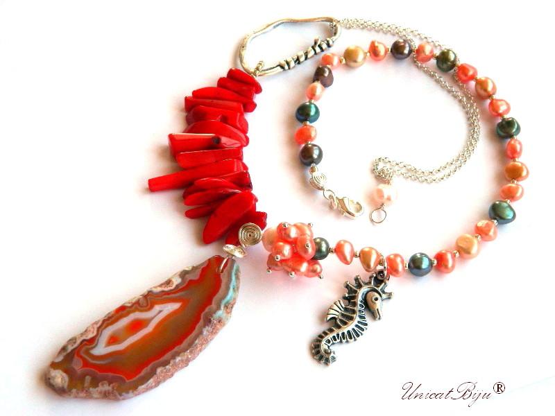 colier statement, coral rosu, bijuterii semipretioase unicat, perle multicolore, calut de mare argintat, agat geoda, unicatbiju