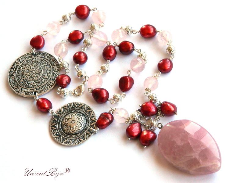 colier statement, cuart roz, bijuterii semipretioase unicat, perle keshi, bordeaux, salba argintata, lava, unicatbiju