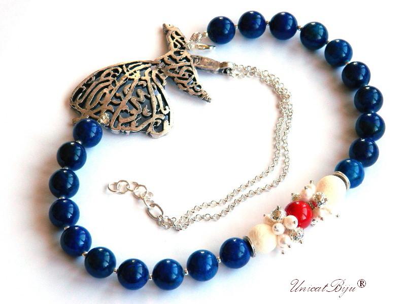 colier statement, dervish argintat, bijuterii semipretioase unicat, lava alb, perle mallorca, lapis lazuli, unicatbiju