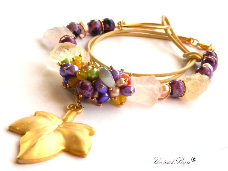 colier statement, perle multicolore, sidef natural, bijuterii semipretioase unicat, frunza aurita, citrin brut, cuart roz, unicatbiju