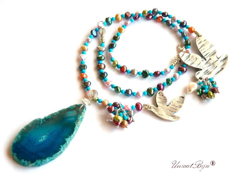 colier statement, perle multicolore, turcoaz, sidef natural, bijuterii semipretioase unicat, agat felie geoda, pasare argintata, unicatbiju