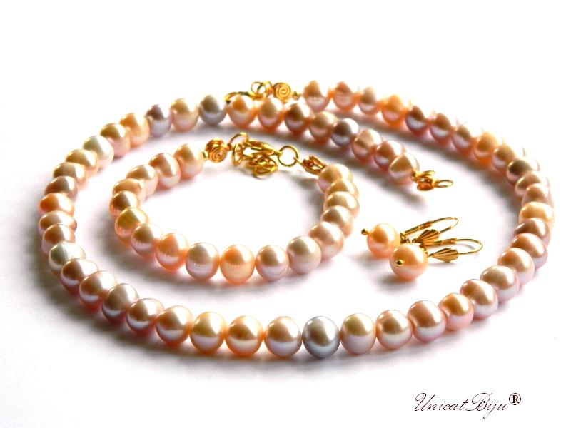 set integral perle, sidef natural crem roz, bijuterii semipretioase unicat, cercei perla, bratara perle, colier statement, unicatbiju