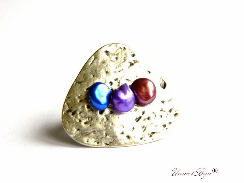 bijuterii semipretioase unicat, inel argintat, statement, perle keshi, perle mov, burgundy, unicatbiju