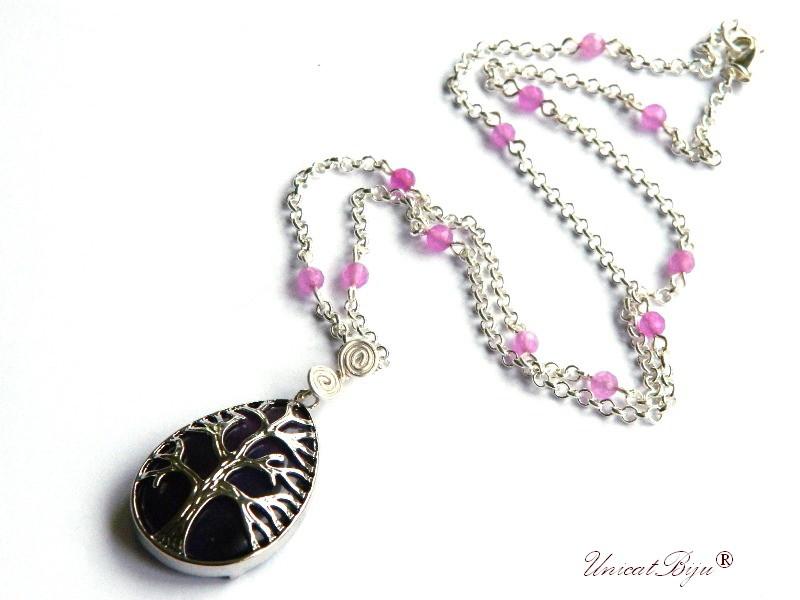colier lant argintat, bijuterii semipretioase, ametist, jad mov, pandantiv copacul vietii, perle sidef natural, unicatbiju