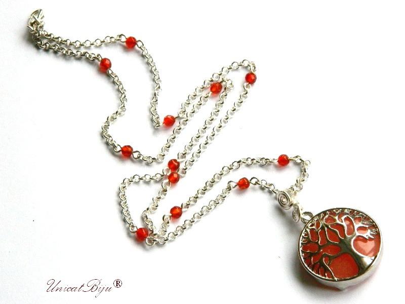 colier lant argintat, bijuterii semipretioase, cuart cherry, agat, pandantiv copacul vietii, perle sidef natural, unicatbiju