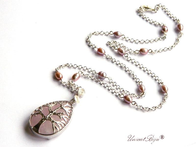 colier lant argintat, bijuterii semipretioase, cuart roz, pandantiv copacul vietii, perle sidef natural, unicatbiju