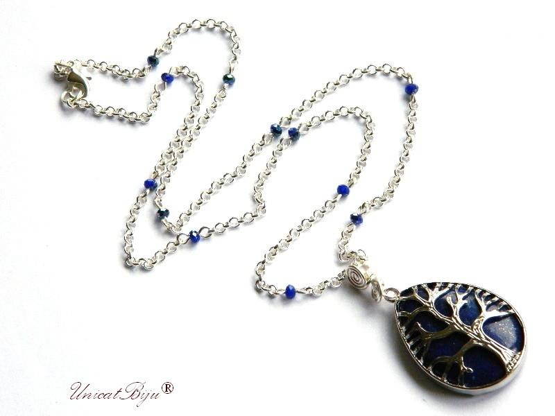 colier lant argintat, bijuterii semipretioase, lapis lazuli, pandantiv copacul vietii, perle sidef natural, unicatbiju