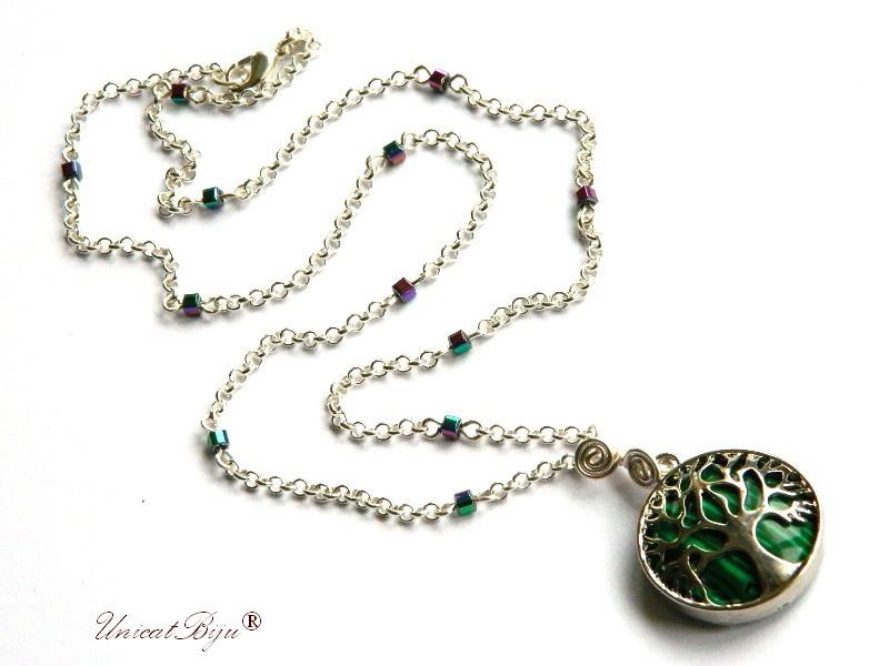 colier lant argintat, bijuterii semipretioase, malachit, pandantiv copacul vietii, perle sidef natural, unicatbiju