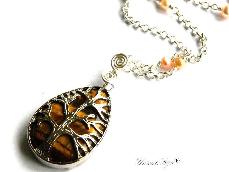 colier lant argintat, bijuterii semipretioase, ochi de tigru, pandantiv copacul vietii, perle sidef natural, unicatbiju