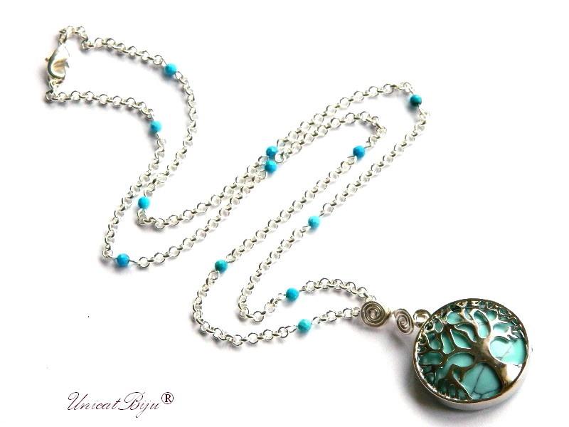 colier lant argintat, bijuterii semipretioase, turcoaz, pandantiv copacul vietii, perle sidef natural, unicatbiju