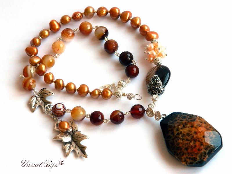 colier perle aramii, bijuterii semipretioase unicat, perle keshi, agat masiv, cuart, frunze argintate, perle crem naturale, unicatbiju
