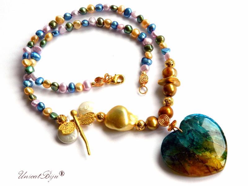 colier perle naturale, bijuterii statement, semipretioase, perle keshi, agat inima, libelula aurita, unicatbiju