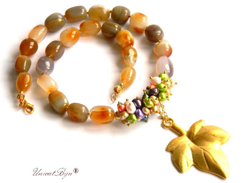 colier statement, agat masiv, perle naturale, bijuterii semipretioase unicat, keshi, frunza aurita, perle multicolore, unicatbiju