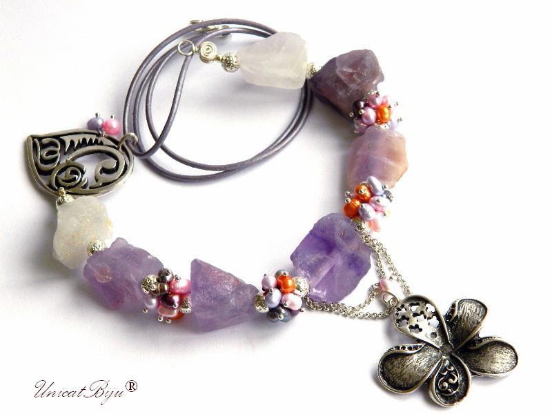 colier statement, ametist bruz, perle multicolore, sidef natural, keshi, floare argintata, bijuterii semipretioase unicat, unicatbiju