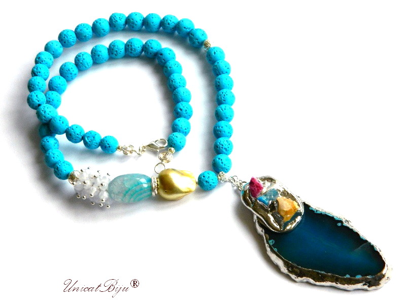 colier statement, bijuterii semipretioase unicat, lava poros albastru, agat druzy, calcedonie, perle keshi, angelit, unicatbjiu