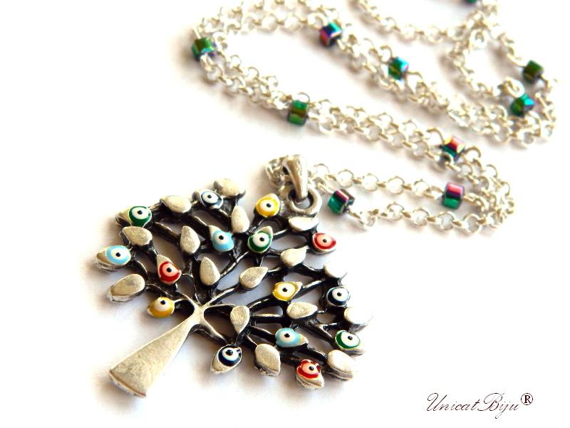 colier statement, copacul vietii argintat, evil eye, talisman norocos, bijuterii semipretioase, hematit placat curcubeu, unicatbiju, boho style
