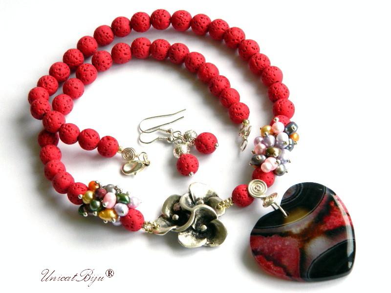 colier statement, lava poros, agat inima, floare argintata, perle multicolore, keshi, cercei lava, unicatbiju