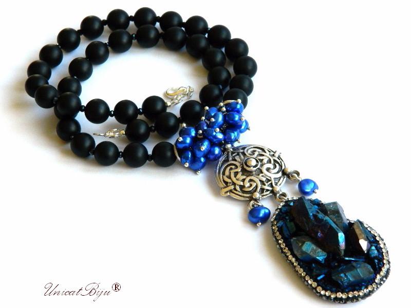 colier statement, onix mat, cristale, bijuterii semipretioase unicat, perle albastre, keshi, pandantiv pirita, pandantiv celtic argintat, unicatbiju