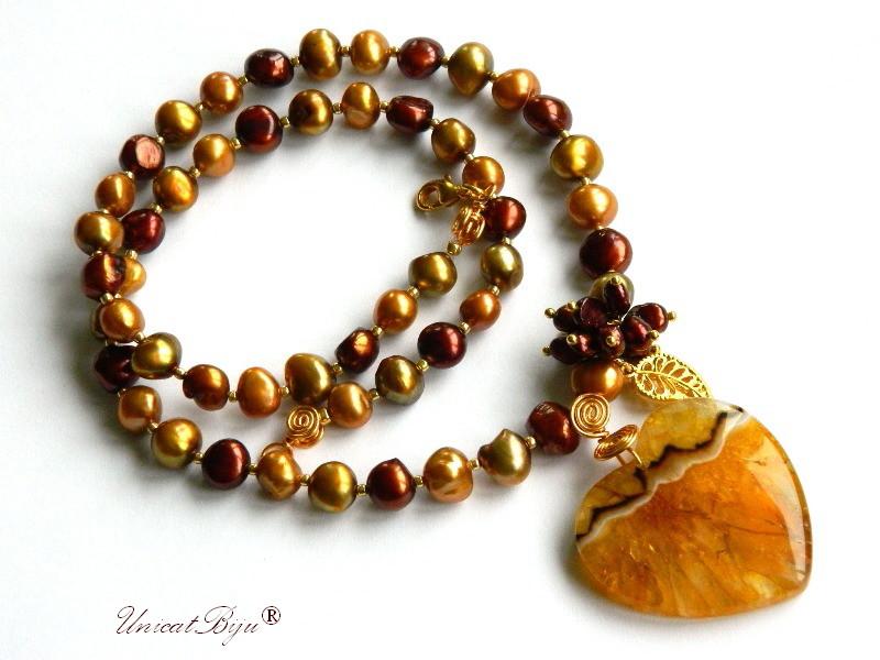 colier statement, perle keshi, bijuterii semipretioase unicat, agat cuart, chihlimbar, olive, grena, frunza aurita, unicatbiju