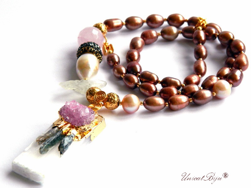 colier statement, perle sidef natural, perle keshi, bijuterii semipretioase unicat, prehnit brut, unicatbiju, cuart roz