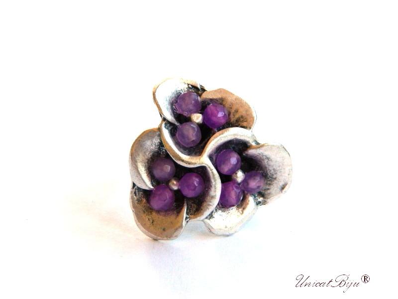 inel statement, ametist, jad mov, bijuterii semipretioase unicat, floare liliac, argintat masiv, unicatbiju