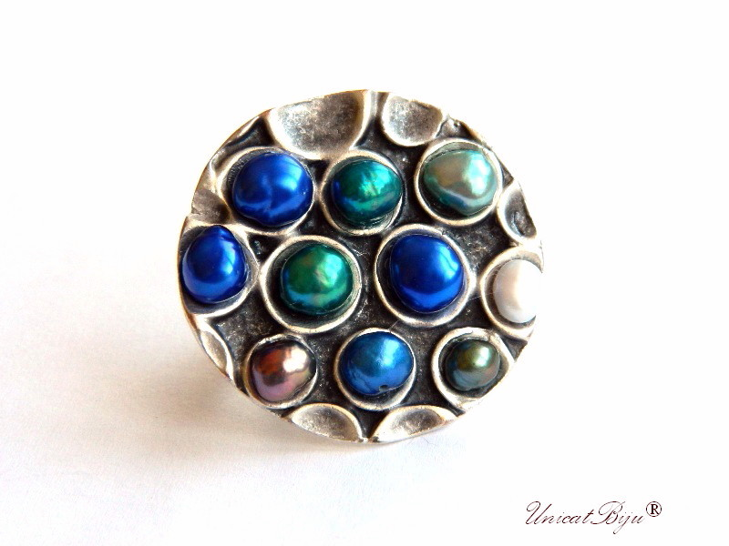 inel statement, inel argintat masiv, bijuterii semipretioase unicat, perle keshi, sidef natural, albastru cobalt, unicatbiju