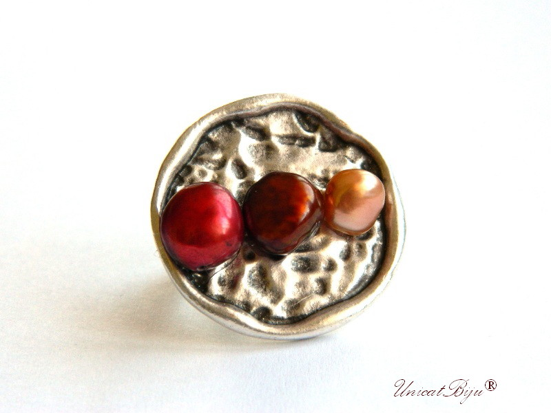 inel statement, inel argintat masiv, bijuterii semipretioase unicat, perle keshi, sidef natural, bordeaux, cupru, unicatbiju