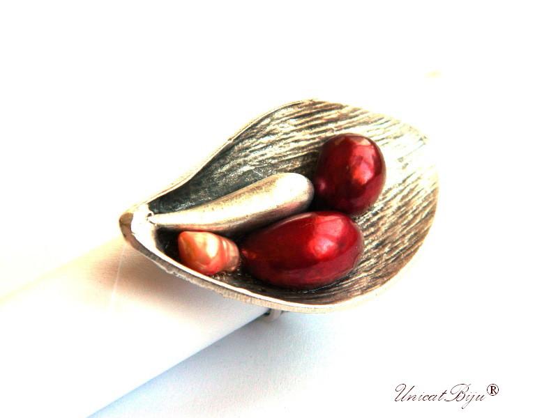 inel statement, inel argintat masiv, bijuterii semipretioase unicat, perle keshi, sidef natural, lalea, bordeaux, unicatbiju