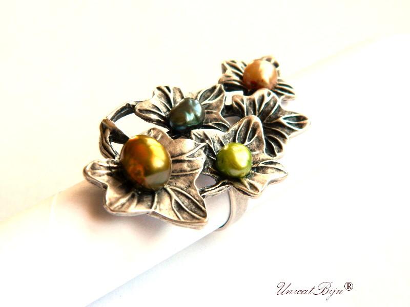 inel statement, inel argintat masiv, bijuterii semipretioase unicat, perle keshi, sidef natural, olive auriu, unicatbiju