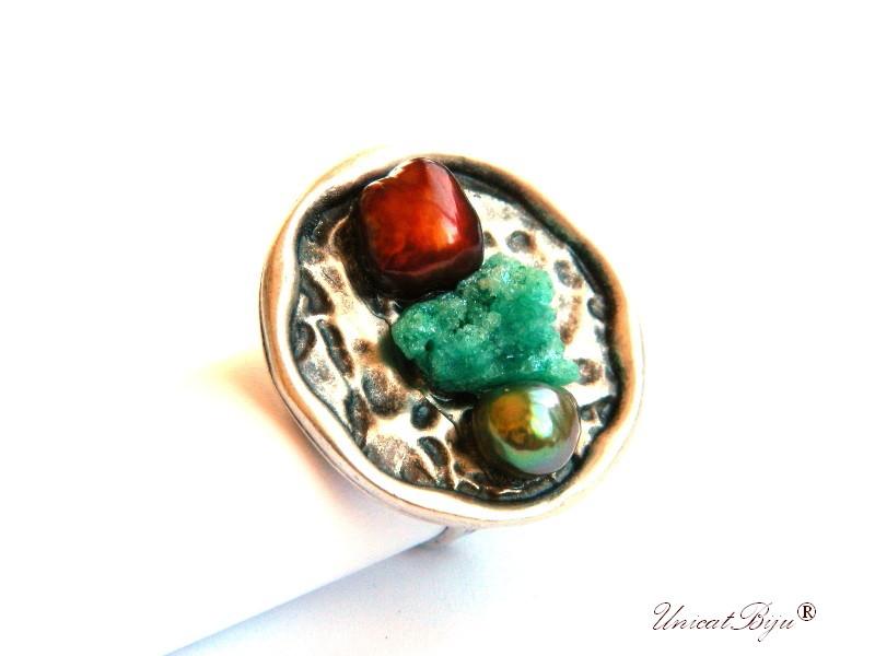 inel statement, perle cupru, agay druzy, sidef natural, bijuterii semipretioase unicat, multicolor, argintat masiv, unicatbiju