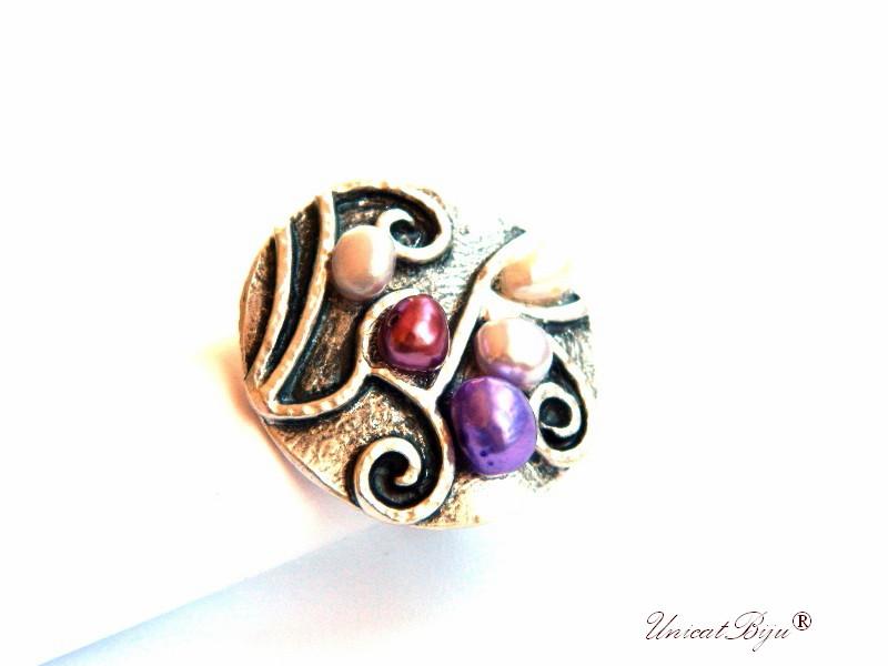 inel statement, perle mov, sidef natural, bijuterii semipretioase unicat, multicolor, argintat masiv, unicatbiju