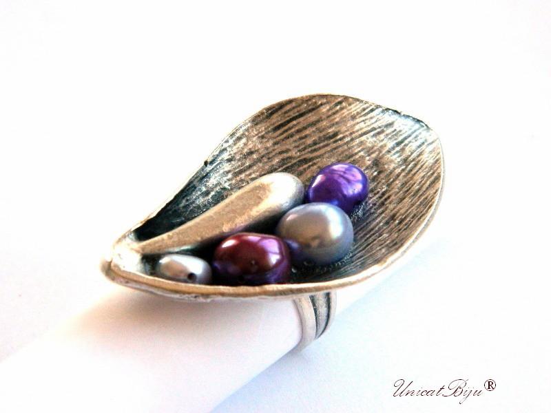 inel statement, perle mov, sidef natural, bijuterii semipretioase unicat, multicolor, lalea argintata, unicatbiju