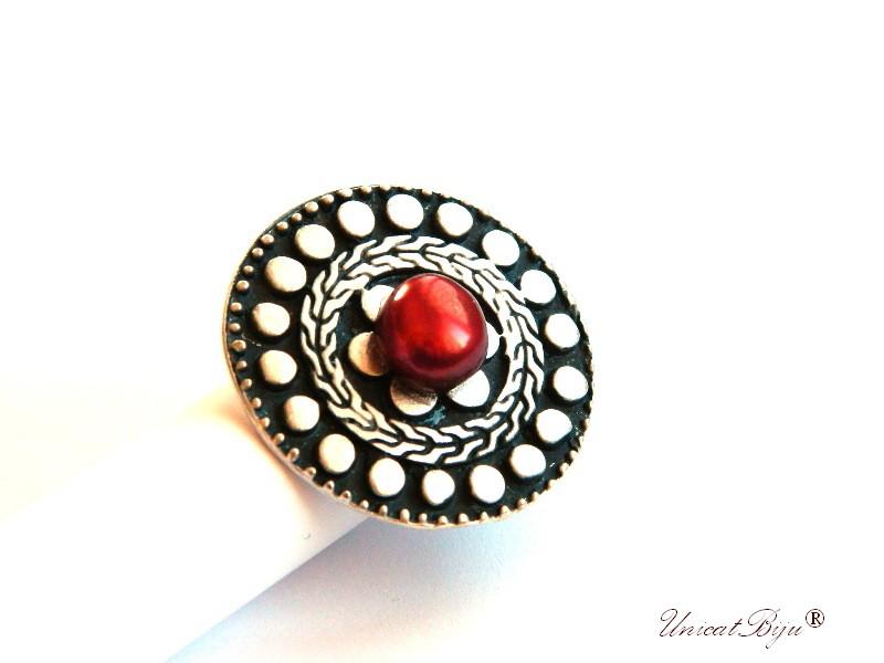 inel statement, perle rosii, sidef natural, bijuterii semipretioase unicat, mandala, multicolor, argintat masiv, unicatbiju