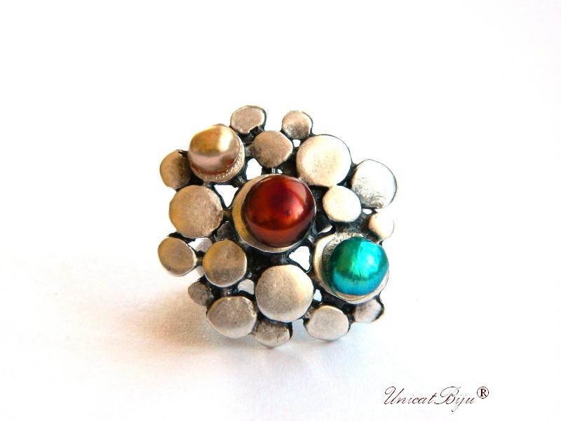 inel statement, perle turcoaz, sidef natural, bijuterii semipretioase unicat, multicolor, argintat masiv, unicatbiju