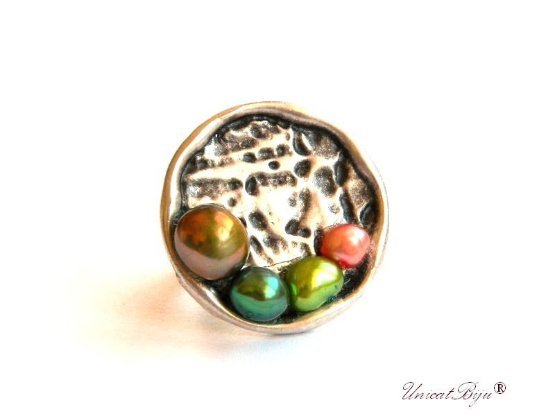 inel statement, perle verzi, sidef natural, bijuterii semipretioase unicat, multicolor, argintat masiv, unicatbiju